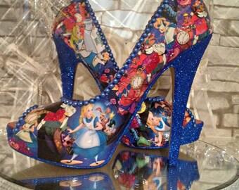 Alice in wonderland women Custom wedding bride prom party Shoes heels