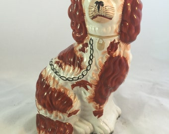 Antique English Staffordshire Dog With Gold Collar And Black Leash