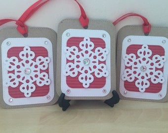 Snowflake Gift Tags, Christmas Gift Tags, Gift Tags, Gift Wrapping, Gift Boxes, Red Gift Tags