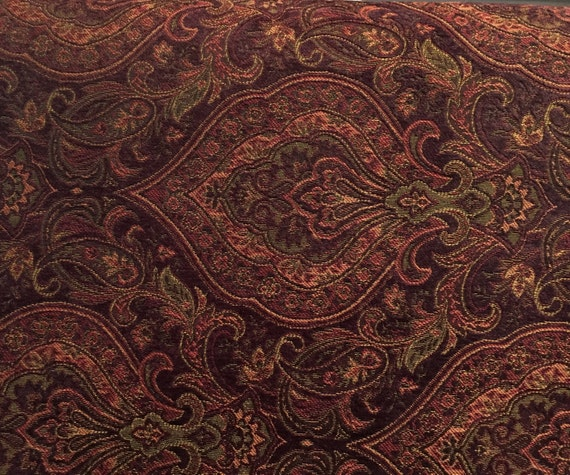 Dark Burgundy Damask Upholstery Fabric By The Yard