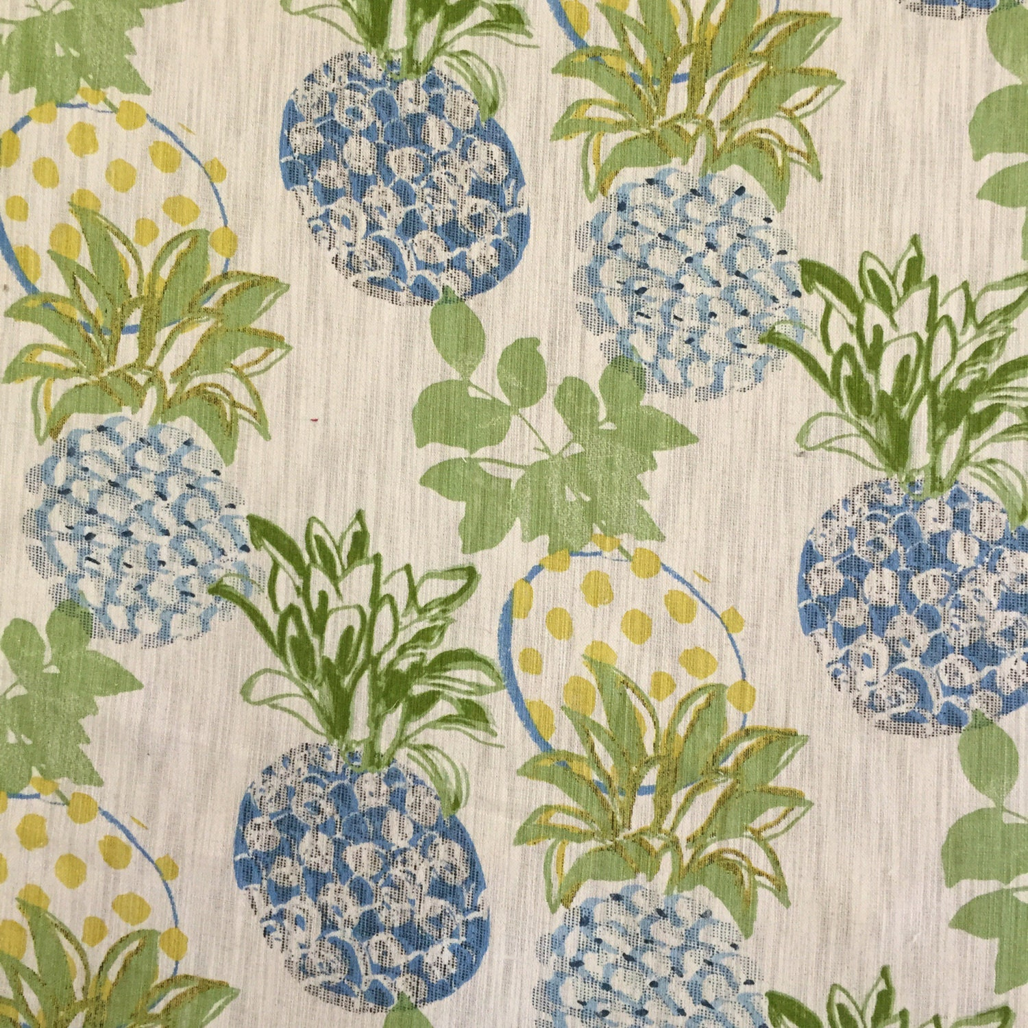 Pineapple Blue Green Blue Yellow Fabric By The Yard