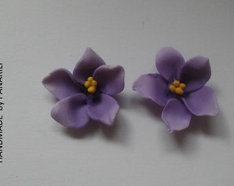 African violets studs sterling silver studs Gift for her Floral jewelry Pansy earrings Purple studs Floral earrings handmade by panarili
