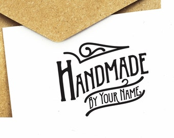 "Custom ""Handmade By"" Rubber Stamp, personalized name stamp, self-inking stamp, clear stamp HB001"