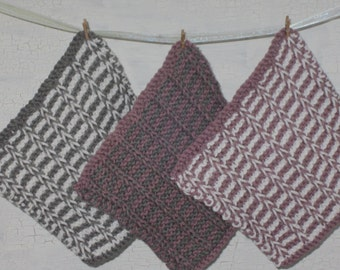 Dish Cloths, Dish Cloth Set, Knit Dish Cloth, Cotton Dish Cloth, Set of 3 Dish Cloths, Hand Knit Dish Cloth, Housewarming Gift, Kitchen Item