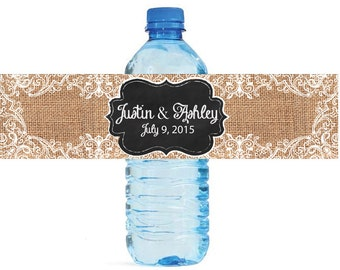Burlap and Lace with chalkboard frame Wedding Water Bottle Labels Great for Engagement Bridal Shower Party Easy to use, peel & stick labels
