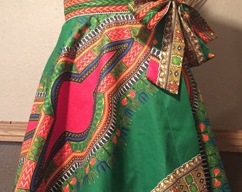 Effortless Style High Waist Dashiki Print Wrap Skirt 100% Cotton