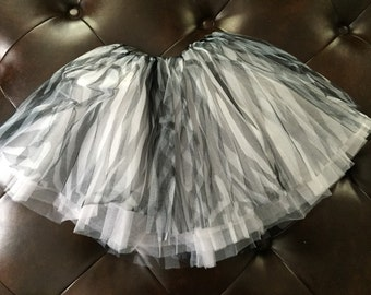Zebra beautiful tulle tutu- perfect for dance or dress up. Soft and fluffy