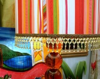 Custom Made Lamp Shade, Drum Style,Orange Designers Guild Print, Beaded Trim, From Jane Hall Design