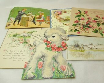 Lot of 6 Vintage Greeting Cards and Post cards made in USA. 125-556.*FREE SHIPPING*