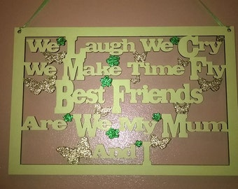 Wooden plaques 'Best friends' painted / glittered any colour