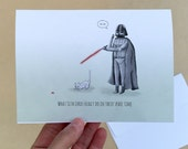"""Darth and his Cat; 4"""" x 6"""" Card, Star Wars, Darth Vader, Cat, Cat Lover, Cat Lady, Birthday, Father's Day, Mother's Day, Valentine, Sci-Fi"""