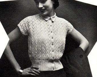 """Vintage 50's Knitted & Crocheted Sweater Blouse PDF / Sultana Booklet 1951 """"GLEAM"""""""