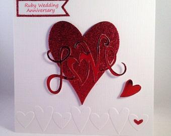 Ruby Wedding Anniversary 40th Wedding Anniversary Card