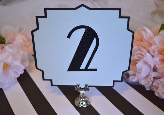 Art Deco Table Numbers - Black and White - Old Hollywood - Roaring 20's Gatsby Wedding - Black Tie Wedding