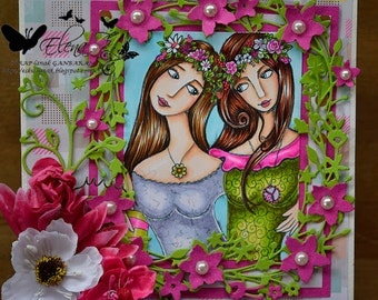 Digital Stamp - Instant Download - Flower Power - Fantasy Line Art for Cards & Crafts by Exclusive Artist Robin Pushay for Crafts and Me