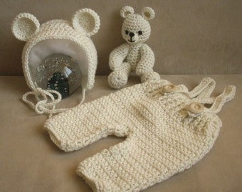 Crochet set teddy bear. Photo props. Newborn set. Newborn photo props. Crochet set. Handmade
