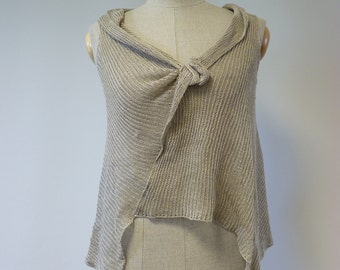 Delicate transparent natural linen asymmetric top, M size. Perfect for Summer.