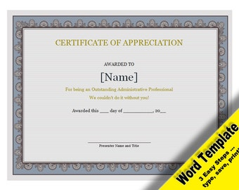Certificate Of Appreciation, Editable Word Template, Printable, Instant  Download, YOU EDIT Word