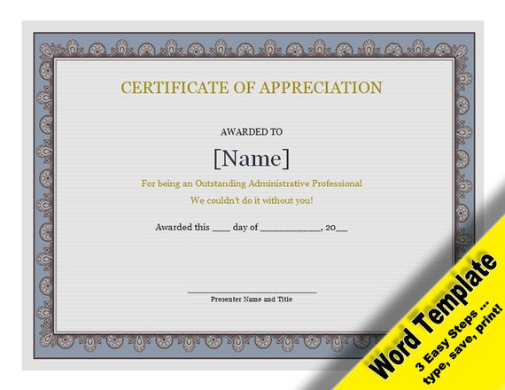 Certificate of appreciation editable word template for Template for certificate of appreciation in microsoft word