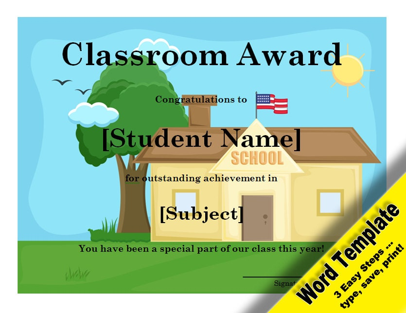 Classroom award editable word template printable by for Classroom certificate template