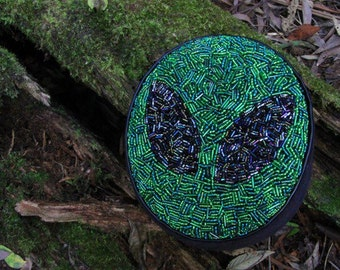 Hand beaded Alien large pillbox hat. Extraterrestrial special occasion headwear.