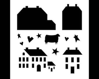 Salt Box Houses - Art Stencil - Select Size - STCL1203 by StudioR12