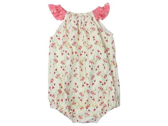Baby Romper Toddler Romper Pink Flower Floral Romper Dainty Floral Baby Romper Flutter Sleeve Romper