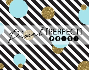 "6ft x 6ft ""Blue & Gold Stripes"" Vinyl Backdrop // Vinyl Backdrops // Black and White Backdrop // Gold Glitter Backdrops (PP616)"