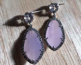 Ice pink post earrings