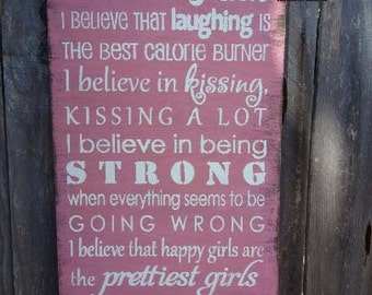 audrey hepburn, hepburn quote, I Believe In Pink Sign