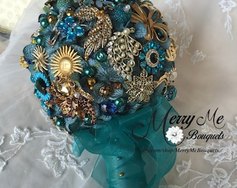 Teal Brooch Bouquet - Teal and Gold Brooch Bouquet - Teal Bridal Bouquet - Vintage Brooch Bridal Bouquet - Teal and Gold Bouquet