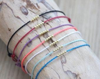 Cord bracelet with beads in Gold Filled - friendship bracelet - color bracelet customize - Fine gold bracelet