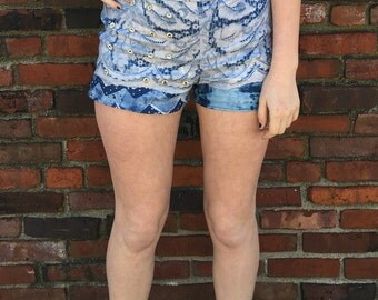 Denim Print Studded Shorts