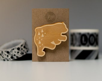 Bear brooch: wooden laser-cut and engraved badge