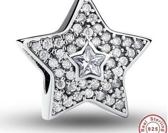 Wishing Star Charm fit Pandora Bracelet