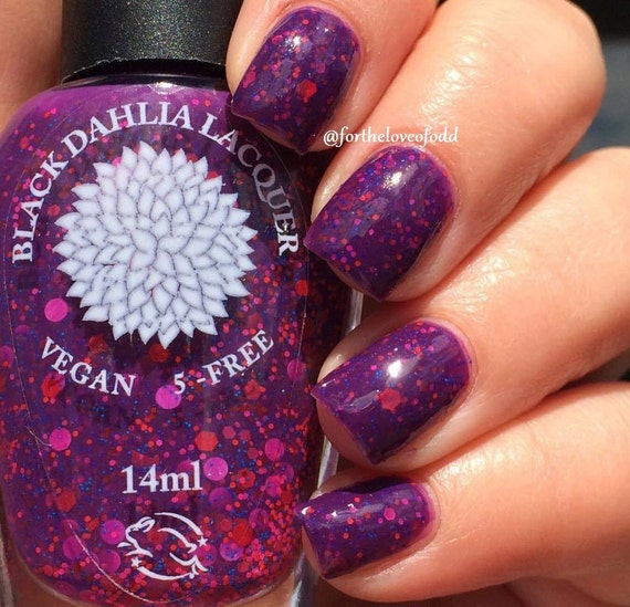 Bright Plum Crelly With Matte Glitter Nail Polish By Black