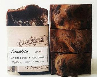 5oz Chocolate & Coconut Soap, Vegan Soap, Palm Oil Free Soap, Handmade Gift