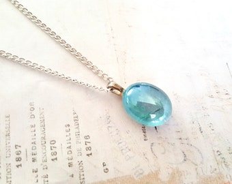Frozen Fairy Stone Pendant Necklace - Glass Stone Charm - Glass Stone Pendant - Fairy Tale Jewelry - Fairy Tale Lovers - Blue - Frost