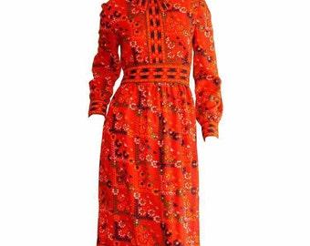 Vintage Mollie Parnis Red Dress 1960s Vintage Secretary Geometric Tribal Ethnic Print Colorful Dress ~ Long Sleeve Dress Small - Med