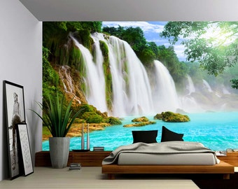 Mountain Cliff Waterfall - Large Wall Mural, Self-adhesive Vinyl Wallpaper, Peel & Stick fabric wall decal
