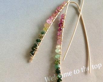 Minimalist Watermelon Tourmaline Earrings - gold filled earrings, gold earring,  leaf shaped earrings, hoop earrings, natural gemstone
