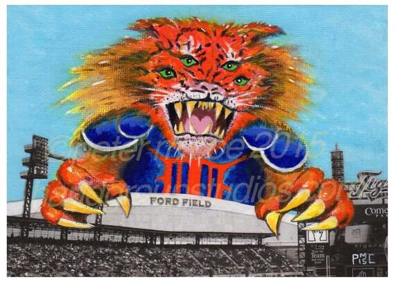 "Detroit Kaiju Superfan Sports Monster 5x7 Print ""Taigaraion... Megabeast Tailgater!"" Original Art by Pete Coe Detroit Lions Tigers"