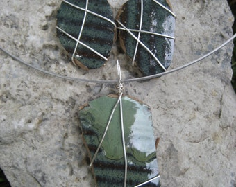 Jade green pottery shard dangle earring and necklace set