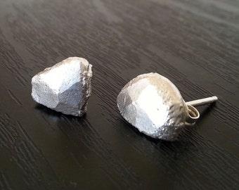 Molten Silver Stud Earrings