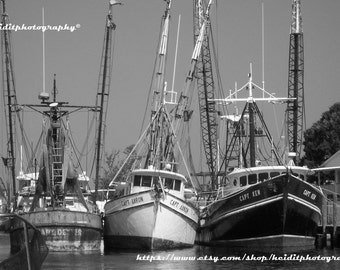 Tarpon Boats ~ Photographic Art ~ Black and White Photography ~