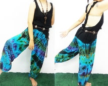 Jumpsuit Overalls Tie Dyed Jumper Hippie Jinny Gypsy Buggy Pants Comfortable Thailand Maternity Casual Summer Colorful plus size Suspender