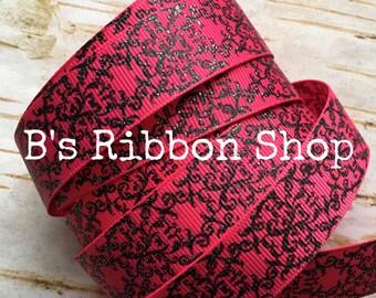 "7/8"" Black Glitter Damask on Shocking Pink USDR 1 yard grosgrain ribbon"