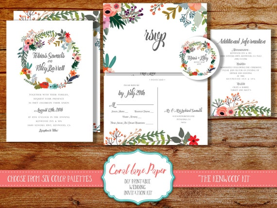 Diy Wedding Invitation Kits: DIY Wedding Invitation Kit Printable Rustic By CoralLanePaper