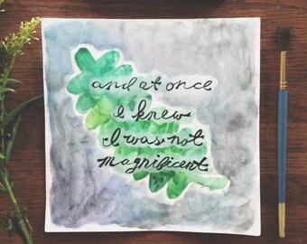 "Bon Iver ""Holocene"" Lyrics - Watercolor Print"