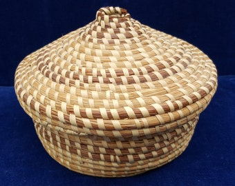 Sweetgrass basket with lid maybe a yarn holder?